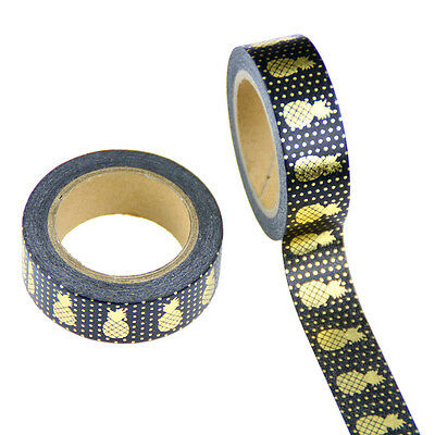 Super Cute 10m by 15mm Pineapple Washi Masking Tape Foil GOLD and Black