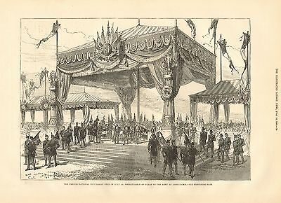 1880 Antique Print-Presentation Of Flags To French Army At Longchamps