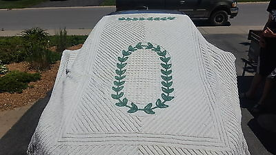 Vintage ivy and white chenille double? Bedspread