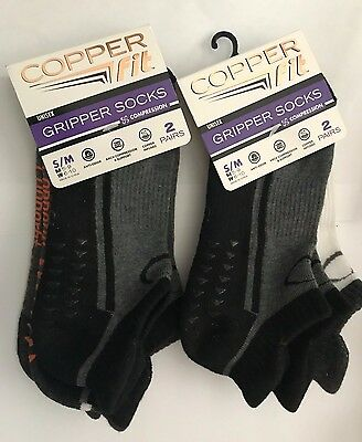 4 pair copper fit gripper socks, unisex, ankle length, s/m. new, free shipping.