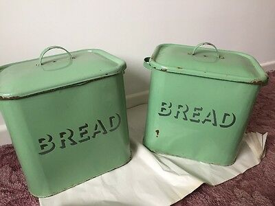 2 Matching Vintage Enamel Bread Bin Bins Green Kitchenalia Retro 50s 60s