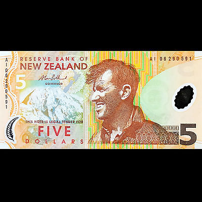 Reserve Bank New Zealand 5 Dollar 2006 P-185b UNC Polymer