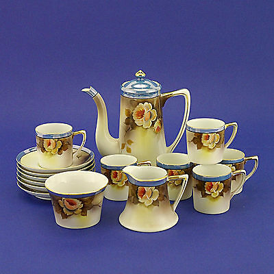 Noritake Floral Blue Coffee Set (Pot, Milk Jug, Sugar Basin & 6 Duos) -15 Pieces