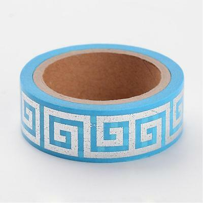 Blue and Silver Classical Greek Key 6m by 15mm Washi Masking Tape Foil