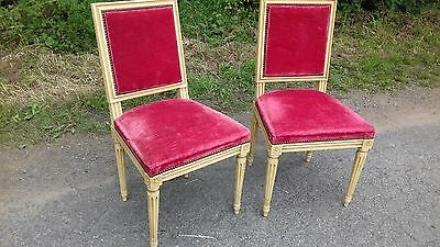 Pair Of Burgundy Dralon French Antique  Chairs From Normandy