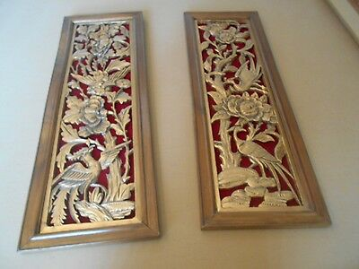 Antique Set Of 2 Asian Oriental Chinese Carved Gold Gilt & Wood Panel Plaques