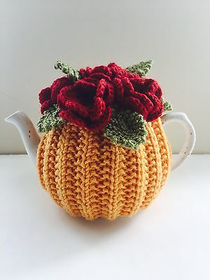 BN Handmade Pure Wool Floral Tea Cosy, fits 1-2 Cup Teapots - Blood Red Roses