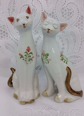 Vintage Siamese White Cat Animal Floral Porcelain Figurines Figures Home Decor