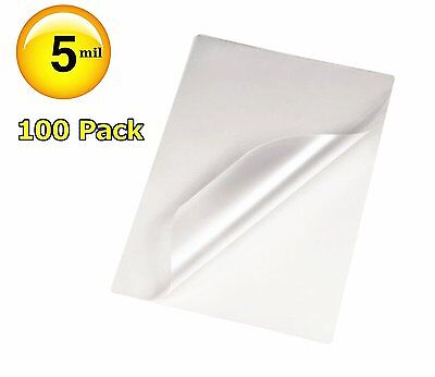 100 Qty Letter Size Clear Laminating Pouches - 9 x 11.5 Sheet 5 Mil Free Carrier