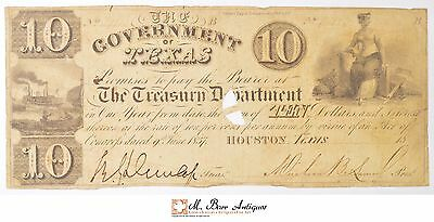 1837 $10.00 Government Of Texas Currency - Houston *192
