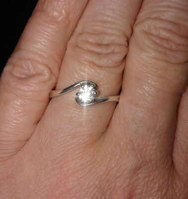 VINTAGE French Marked 800 Silver Sparkly Solitaire Stone Ring SIZE O BEAUTIFUL