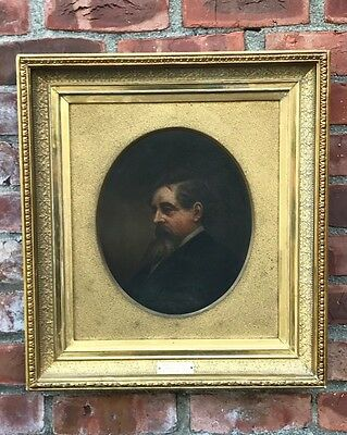 C1870 Horace Johnson O/C Portrait Of Victorian English Author Charles Dickens