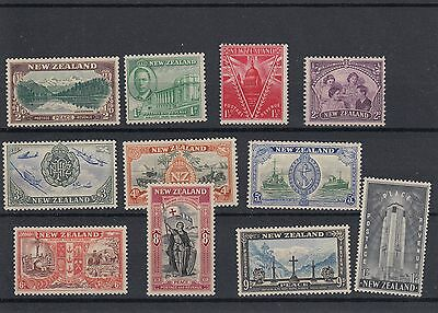 New Zealand 1946 LMM Peace Issue set of 11 stamps.