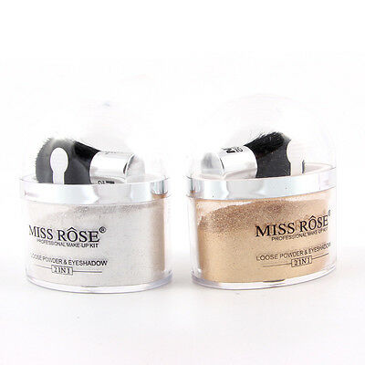 MISS ROSE 2 in 1 Highlighter Contour Make Up Eye Loose Powder Glitter Gold Eyesh