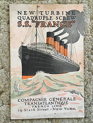 1912 French Line Ss France Prelim Announcement Introductory Brochure Poster  ⚓️