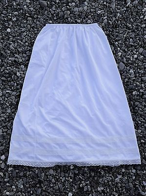 Vintage Patricia White Polyester Half slip M 3 tiers of lace