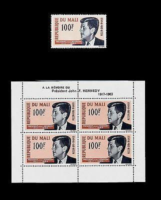 MALI 1964 In Memory JOHN F. KENNEDY Stamp and Sheetlet MNH