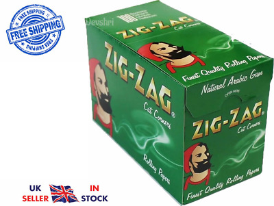 Zig-Zag Green Cut Corners Standard Regular Size Cigarette Smoking Rolling Papers