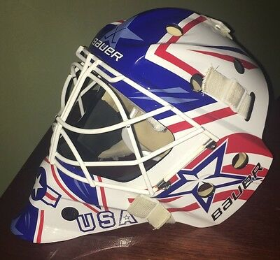 Custom USA Bauer NME 8 Ice Hockey Goalie Mask Helmet Fit 3 Large Cat Eye America