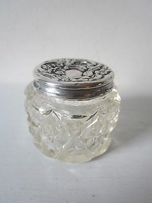 Glass Vanity Pot, with Fully Hallmarked, Solid Silver Lid
