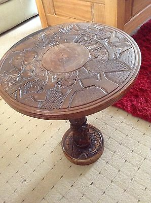 Solid african (Milawi) heavy carved table/ plant stand