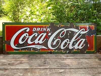 "Rare Vintage Original 1927 30"" Coca Cola Coke Soda Porcelain Sign"