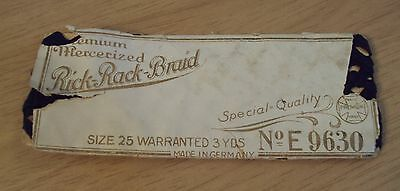 """Antique Early 1900's """"RICK RACK BRAID""""~Sewing/Dressmaking/Embroidery~"""