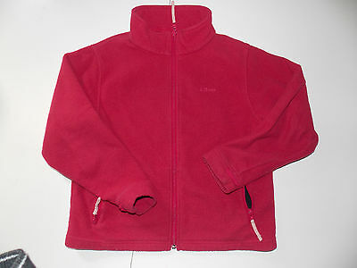 ll bean kids fleece red full zip coat/jacket 10-12 medium M girls/boys