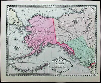 Alaska Aleutian Islands Behring Sea Russia 1886 Tunison old antique color map