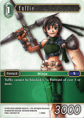 3x Yuffie  - 1-086C COMMON - NM - Final Fantasy TCG - OPUS 1