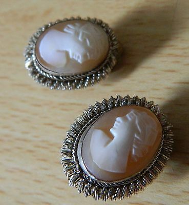 Vintage silver cameo earrings, clip ons