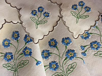 Lovely Vintage Irish Linen Embroidered Tablecloth & 4 Napkins ~ Blue Florals