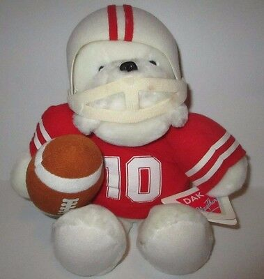 Vintage 1987 Dakin Plush Nebraska Huskers Bear Football Player w/ Tag