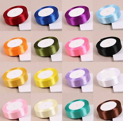 25Yards Double Sided Quality Satin Ribbon Roll Long Lengths Width 6mm 15mm 25mm