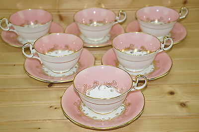 """Aynsley Sheraton Rose (6) Cups, 2 1/8"""" & (5) Saucers, 5 5/8"""""""