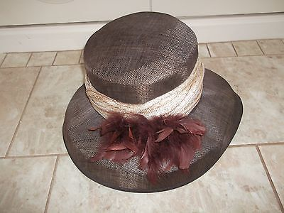 Jacques Vert Brown/cream Feather Detail Wedding/races/occasion Hat