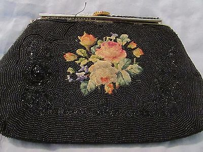 BEAUTIFUL VINTAGE ANTIQUE BEADED PURSE BAG SATCHEL WITH Embroidery & Cameo