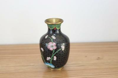 "Vintage Cloisonne Vase Prunus Floral Design / Black Ground 3.5"" Tall"