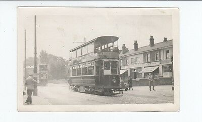 Postcard size PHOTO. Birmingham Corp Tram passing Birchfield Cafe.