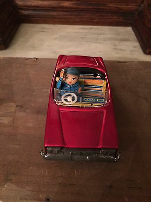 Vintage Tin Japan 1960's Friction Convertible Car with Waving Driver