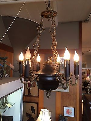 Authentic Empire or Regency 6 Light Converted Chandelier Neo Classical
