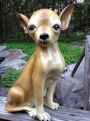 Vintage MARWAL Chihuahua Life Size Dog Statue Figure Sculpture Composite Stamped