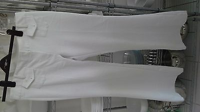 Ladies Retro style white stretch Summer  jeans  size 14 32 inch inside leg