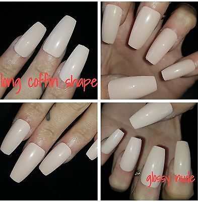 GLOSSY NUDE LONG COFFIN SHAPE Nails x 20
