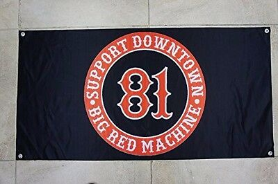 Support 81 Big Red Machine Motorcycle Club flag 60x120cm Black Edition Chooper