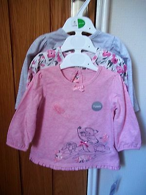 NEW Set of 3 Bambi/floral baby tops age 3 - 6 months