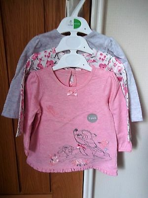 NEW Set of 3 Bambi/floral baby tops age 6 - 9 months