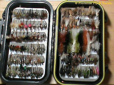 100 Preselected Fly Assortment & Fly Box - Trout, Panfish, Crappie