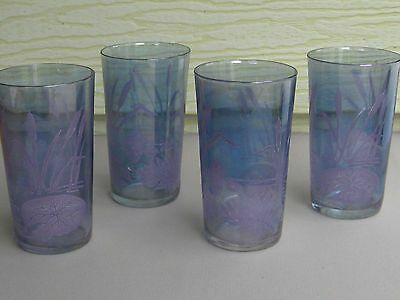 Vintage Imperial Carnival Glass Cattail Lily Tumblers Set/4