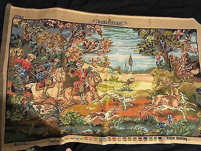 "Needlepoint Canvas. Hunting Scene. Dore Paris. Vintage. Large 33"" x 50"""